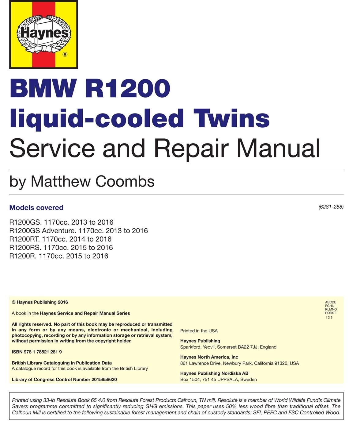 Haynes Manual R1200GS LC/Adv. LC/1200RS LC ,R LC /1200RT LC~